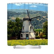 Windmill At Mission Meadows Solvang Shower Curtain