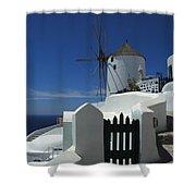 Windmill Greek Islands Shower Curtain