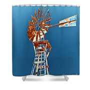 Windmill Rust Orange With Blue Sky Shower Curtain by Rebecca Margraf