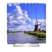 Windmills In Holland Shower Curtain