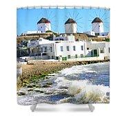 Windmills On Mykonos Shower Curtain