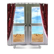 Window And Curtains With View Of Crops  Shower Curtain