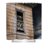 Window In Old House Stormy Sky Shower Curtain