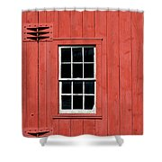 Window In Red Wall Shower Curtain