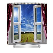 Window View Onto Arable Farmland Shower Curtain