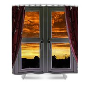 Window With Fiery Sky Shower Curtain
