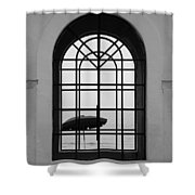 Windows On The Beach In Black And White Shower Curtain