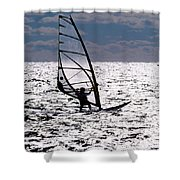 windsurfer rides the water at West Dennis Beach on Cape Cod Shower Curtain