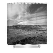 Windswept Hills Bw Shower Curtain