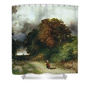 Windy Hilltop Shower Curtain by Thomas Moran