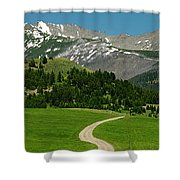 Windy Road To The Crazy Mountains Shower Curtain