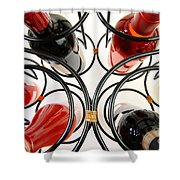 Wine Bottles In Curved Wine Rack Shower Curtain