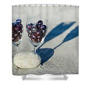 Wine Glass With Grapes Shower Curtain