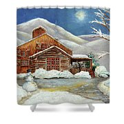 Winter At The Cabin Shower Curtain