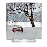 Winter Beach Sign Shower Curtain by Aimee L Maher Photography and Art Visit ALMGallerydotcom