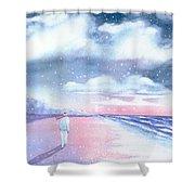 Winter Beach Walk Shower Curtain