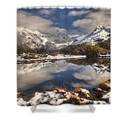 Winter Dawn Reflection Of Mount Shower Curtain by Colin Monteath