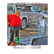 Winter Fest Ice Sculpting Shower Curtain