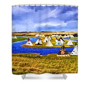 Winter Gathering Place Shower Curtain
