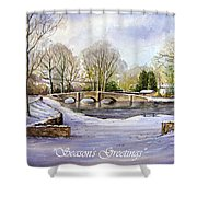 Winter In Ashford Xmas Card Shower Curtain