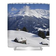 Winter Landscape In The Mountains Shower Curtain