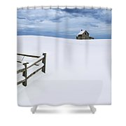 Winter Landscape Photograph With Prairie Farmhouse And Wooden Fence Shower Curtain