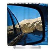 Winter Landscape Seen Through A Car Mirror Shower Curtain