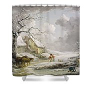 Winter Landscape With Men Snowballing An Old Woman Shower Curtain