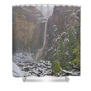 Winter Lower Yosemite Falls Shower Curtain