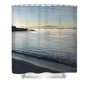 Winter Mist On Lake Superior At Sunrise Shower Curtain by Susan Dykstra