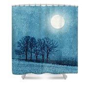 Winter Moon Over Farm Field Shower Curtain