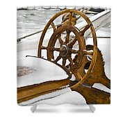 Winter On Board Shower Curtain by Heiko Koehrer-Wagner