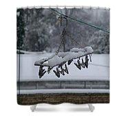Winter Pegs Shower Curtain