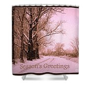 Winter Pink Season's Greetings Shower Curtain