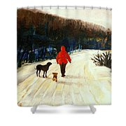 Winter Road Quebec Laurentian Landscape Shower Curtain
