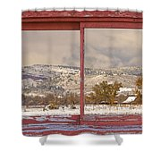 Winter Rocky Mountain Foothills Red Barn Picture Window Frame Ph Shower Curtain
