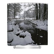 Winter Scene Of Creek With Snow-covered Shower Curtain
