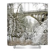 Winter, Shepperds Dell, Columbia River Shower Curtain