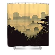Winter Smog Over The City Shower Curtain