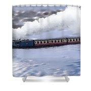 Winter Steam Train Shower Curtain