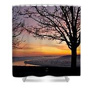 Winter Sunrise In Eden Park Shower Curtain