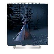 Winter Teepee Shower Curtain