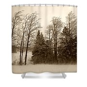 Winter Treeline Shower Curtain