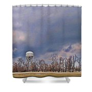 Winter Water Tower Sky Shower Curtain