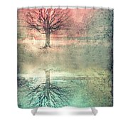 Winter's Reds And Blues Shower Curtain
