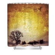 Wintery Road Sunrise Shower Curtain
