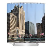 Wisconsin River Brige With Flags Shower Curtain
