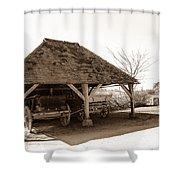 Wiston Wagon Shed Shower Curtain by Dawn OConnor