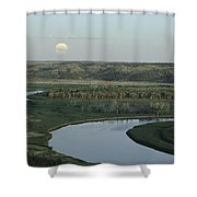 With A Full Moon Rising, The Meandering Shower Curtain