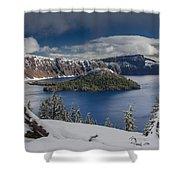 Wizard Island After Summer Snowfall Shower Curtain